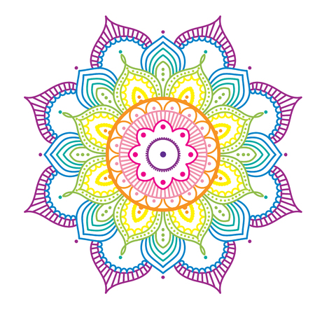 Rainbow colorful mandala on pink background, illustration