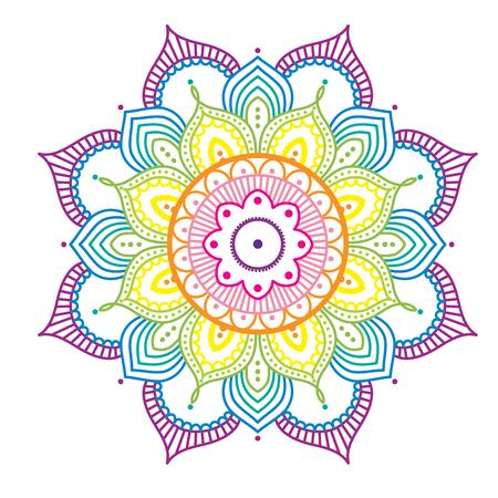 Rainbow colorful mandala on pink background, illustration
