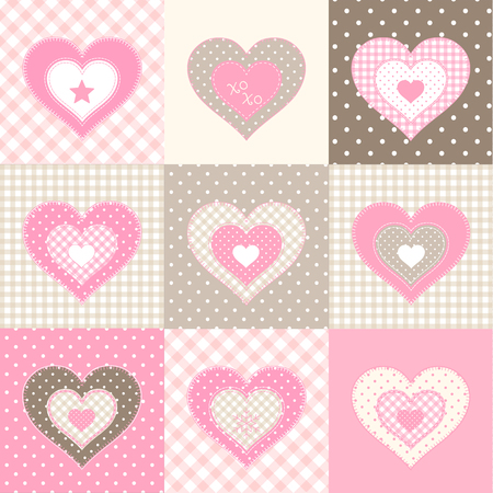 country style: Set of nine pink hearts in country style, illustration Illustration
