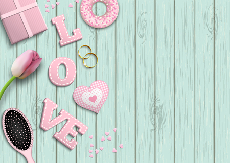 lay: Pink letters LOVE, romantic motive, inspired by flat lay style, illustration