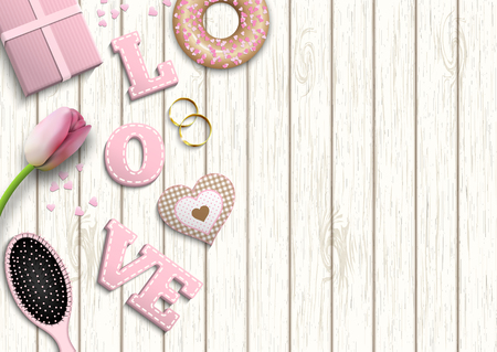 grey hair: Pink letters LOVE, romantic motive, inspired by flat lay style, illustration