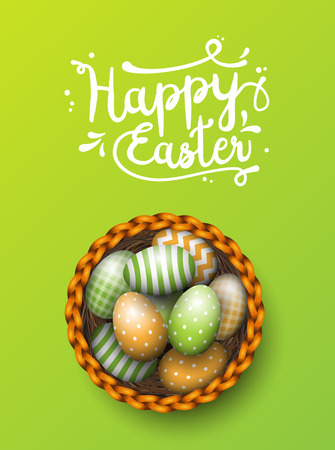 scuttle: Basket with painted easter eggs on green background, illustration Illustration