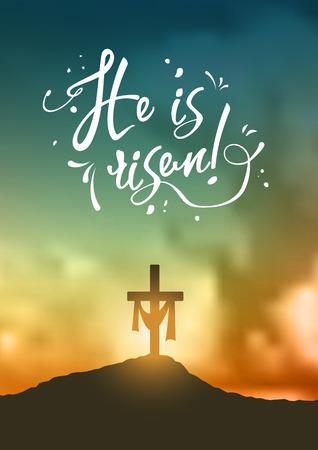 Christian easter scene, Saviours cross on dramatic sunrise scene, with text He is risen, illustration Vettoriali