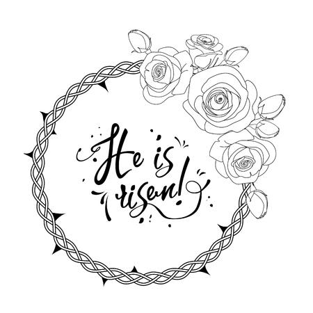 Texte Il est ressuscité entouré de couronne épineuse et de roses, illustration Vecteurs
