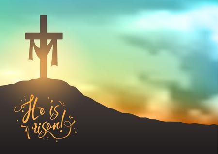 Christelijke Pasen scene, Redders kruisen op dramatische zonsopgang scene, met tekst Hij is opgestaan, illustratie Stockfoto - 74303254