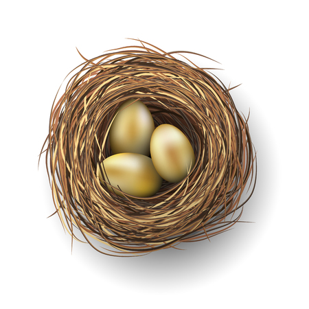 Nest with three golden eggs on white background, vector illustration, eps 10 with transparency and gradien meshes