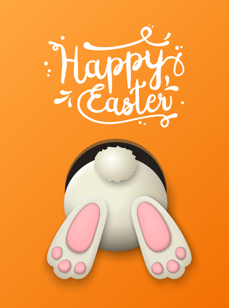 Text Happy Easter and white bunny bottom on orenge background, vector illustration, eps 10 with transparency and gradient meshes