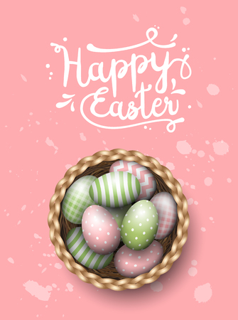 scuttle: Basket with painted green and yellow easter eggs and text Happy Easter on pink spotted background, vector illustration, eps 10 with transparency Illustration