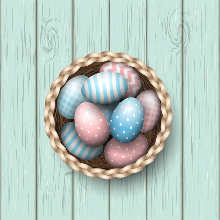 scuttle: Basket with painted blue and pink easter eggs on blue wooden background, vector illustration, eps 10 with transparency