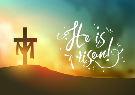 Christian easter scene, Saviour's cross on dramatic sunrise scene, with text He is risen, horizontal oriented, vector illustration, eps 10 with transparency and gradient meshes