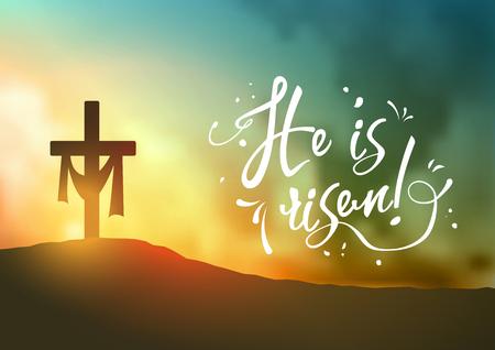 Scena di Pasqua cristiana, la croce del Salvatore sulla drammatica scena di alba, con il testo Egli è risorto, orientato orizzontalmente, illustrazione vettoriale, eps 10 con trasparenza e gradiente maglie