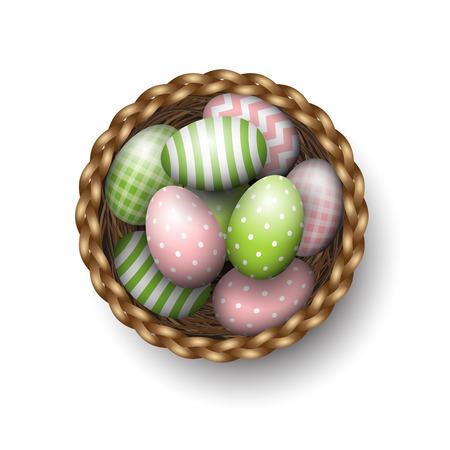 scuttle: Basket with painted green and pink easter eggs on white background, vector illustration, eps 10 with transparency