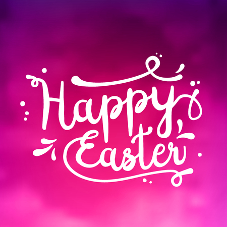 Text Happy Easter, black, white on pink textured background
