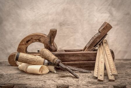 Vintage woodworking tools, stylized hdr image Stock Photo