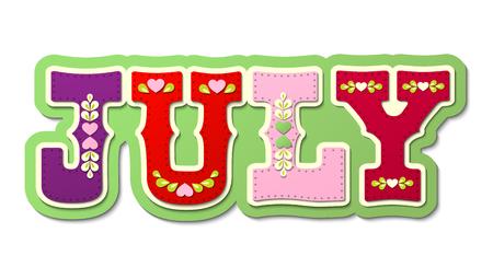 July, illustrated name of calendar month, illustration