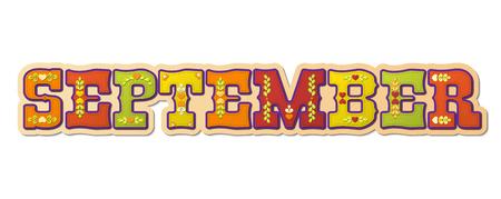 September, illustrated name of calendar month, illustration