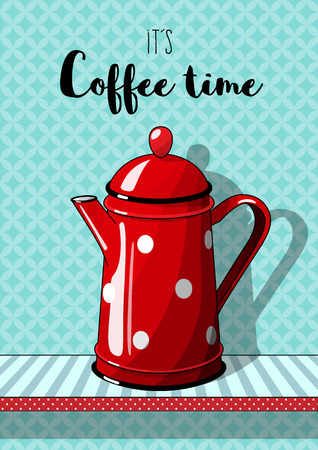 Red vintage coffee pot with cup on blue patterned background.