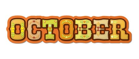 Oktober, geïllustreerde naam van kalendermaand, illustratie