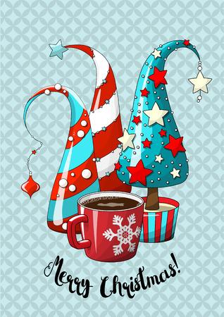 Groep abstracte rode en blauwe Kerstbomen en rode koffiekop op blauwe achtergrond, vakantie beweging veroorzakende, vectorillustratie, eps 10 met transparantie.