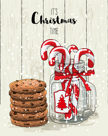 country kitchen: Christmas theme, candy canes in glass jar with red ribbon and stack of cookies, with text Its Christmas time on white wooden background, vector illustration with transparency