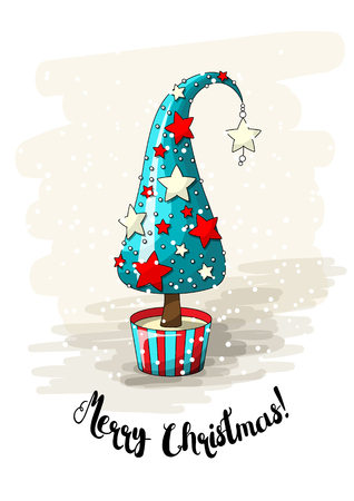 Seasonal motive,blue abstract christmas tree with red and white stars, pearls and text Merry Christmas, vector illustration with transparency