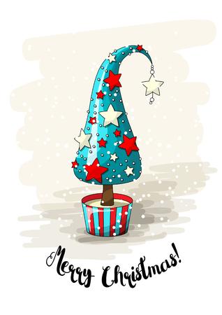 Seizoensgebonden motief, blauwe abstracte kerstboom met rode en witte sterren, parels en tekst Merry Christmas, vector illustratie met transparantie