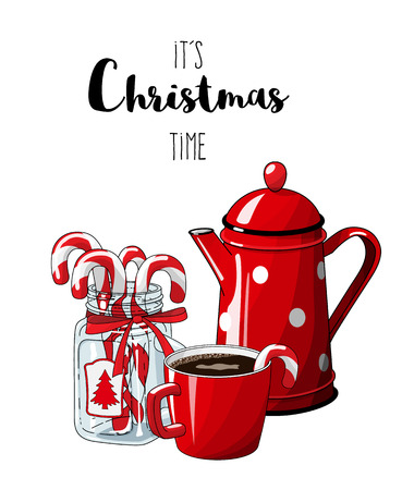 Red vintage coffee pot with cup an glass jar with candy canes isolated on white background, with text Its Christmas time, , illustration in country style, vector illustration with transparency Illustration