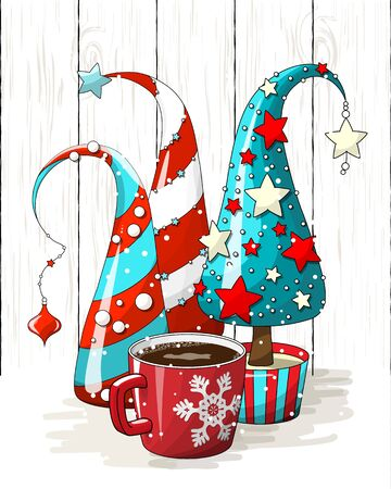 Group of abstract red and green Christmas trees and red coffee cup