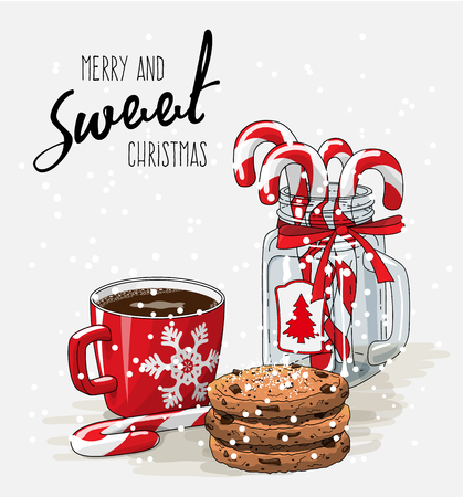 country kitchen: Christmas theme, red cup of coffee with red ribbon, stack of cookies and candy canes in glass jar, illustration