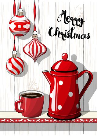 Holidays motive, Christmas decorations with red dotted coffee pot and cup, illustration