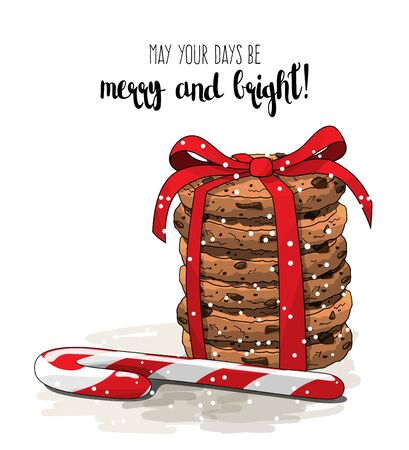 country kitchen: Christmas theme, stack of cookies an one candy cane, illustration