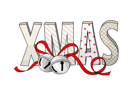 Abstract text XMAS with jingle bells isolated on white background, vector illustration.