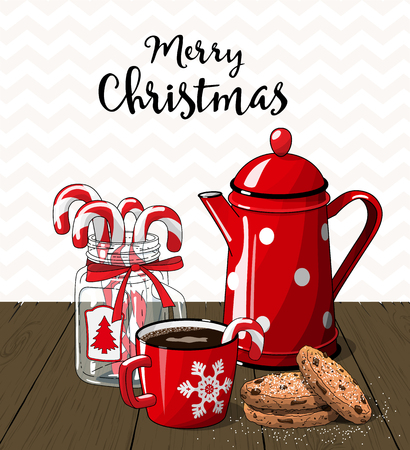 country kitchen: Red vintage coffee pot with cup. glass jar with candy canes and cookies on brown wood, with text Merry Christmas, illustration in country style