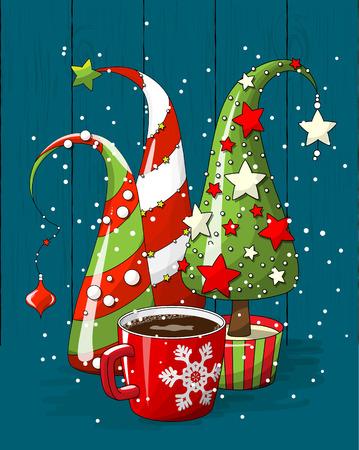 Gruppe abstrakte Weihnachtsbäume und Kaffeetasse, Feiertagsmotiv, Illustration Standard-Bild - 89436090