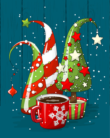 group of abstract christmas trees and coffee cup, holiday motive, illustration