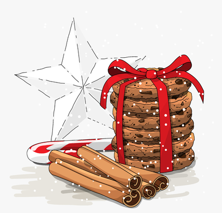 Seasonal theme, stack of brown cookies, christmas candy cane, cinnamon sticks and abstract white star, illustration