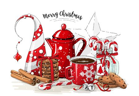 Christmas still-life, red tea pot, coolies, abstract christmas tree, glass jar with candy canes, cinnamon sticks, cup of coffee and jingle bells on white background, illustration Stock Photo