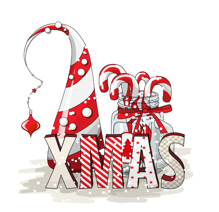 Holidays motive, letters XMAS with abstract cone tree and glass jar with candy canes, illustration