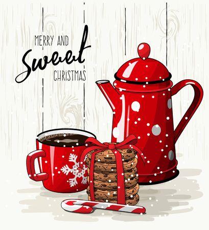 Weihnachtsthema, Weihnachtsthema, roter Tasse Kaffee, Zuckerstange, Stapel Plätzchen und Teekanne, mit Text fröhlichem und süßem Weihnachten auf heller Illustration, ENV 10 mit Transparenz