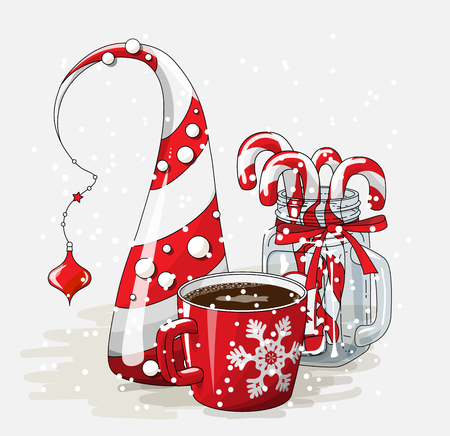 Holidays vintage motive, red cup of coffee with abstract christmas tree and glass jar with candy canes on white background, vector illustration, eps 10 with transparency Stock Illustratie