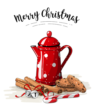 Christmas still-life, red tea pot, brown cookies, cinnamon sticks and jingle bells on white background, illustration