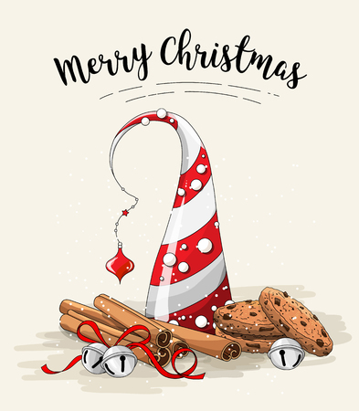 Christmas still-life, brown cookies, abstract christmas tree, cinnamon sticks and jingle bells on white background, illustration Stock Photo