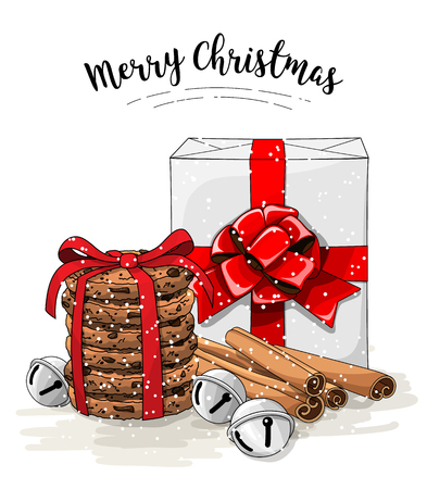 Christmas still-life, white gift box with big red ribbon, stack of brown cookies, cinnamon and jingle bells, illustration Stock Photo