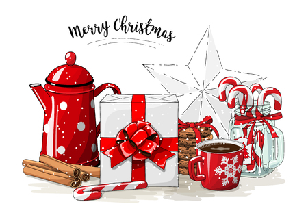 Christmas still-life, white gift box wit red ribbon, red tea pot, cookies, glass jar with candy canes, cinnamon sticks and cup of coffee on white background, illustration
