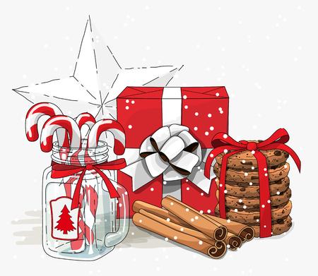 Weihnachtsstillleben, weißes Band des roten Geschenkboxesprits, Plätzchen, Glasgefäß mit Zuckerstangen und Zimtstangen auf weißem Hintergrund, Illustration