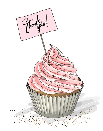 Cupcake with pink cream and topper pick with text Thank you on white background, vector illustration, eps 10 with transparency