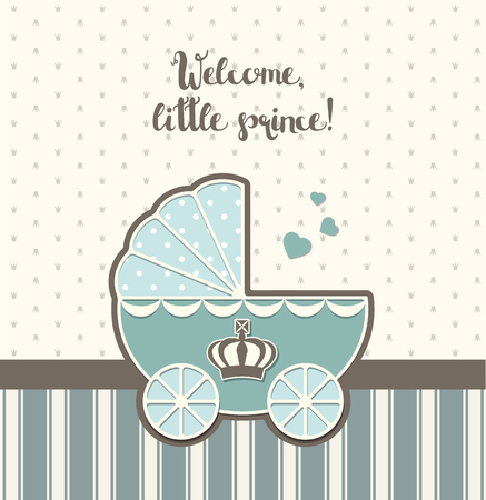 baby shower, blue vintage stroller with royal crown, vector illustration, eps 10 with transparency