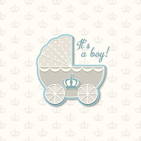 baby shower with royal crown and blue vintage stroller, vector illustration, eps 10 with transparency Ilustrace
