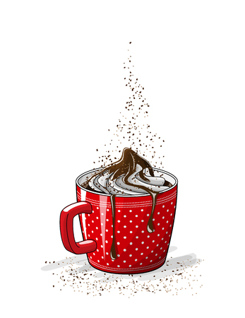 Red cup of coffee with cream and chocolate, vector illustration with transparency.
