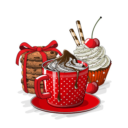 Red cup of coffee with cupcake with cream and cherry, and stack of brown cookies on white background, vector illustration, eps 10 with transparency.